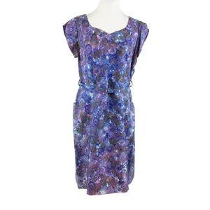 Blue purple floral print vintage dress L